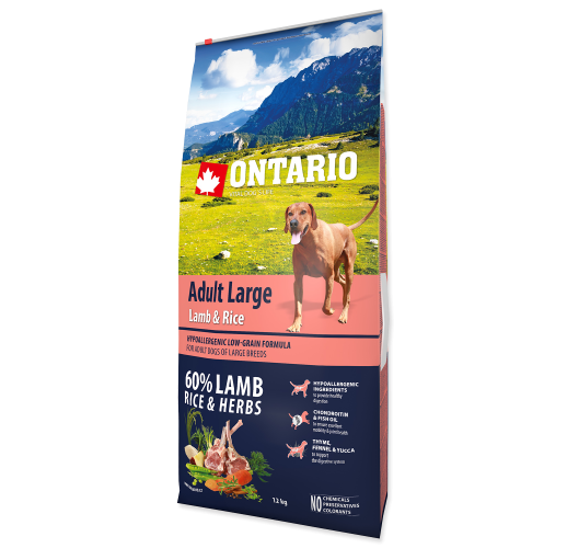 Ontario Adult Large - Food for adult dogs over 25 kg. with lamb and rice 12 kg.